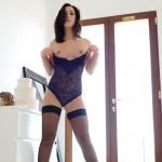 Chloe Bodimeade – Black Bodysuit With Cute Stockings - 11