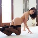 Chloe Bodimeade – Black Bodysuit With Cute Stockings - 23