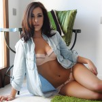 Chloe Bodimeade – Denim Shirt Peach Bra And Panties With Trainers - 3