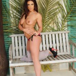 Flame Emmin Stripping Nude From Her Bikini On The Bench - 11