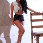 Ivy Nedkova – Denim Shirt With Black Pvc Hotpants - 0