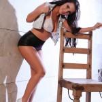 Ivy Nedkova – Denim Shirt With Black Pvc Hotpants - 3