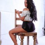 Ivy Nedkova – Denim Shirt With Black Pvc Hotpants - 5
