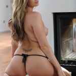 Leah Francis – Black Bra And Thong By The Fire - 20