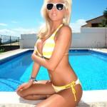 Madison Nicol Strips Nude From Yellow And White Bikini - 9