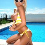 Madison Nicol Strips Nude From Yellow And White Bikini - 16