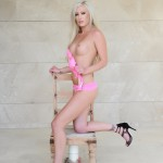 Natalie Fox Strips Nude From Her Pink Bra And Panties - 5
