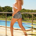 Nicole Ford – White Top And Tight Denim Shorts - 2