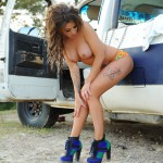 Becky Holt – Sexy In Denim On The Truck - 14