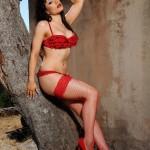 Charlotte Narni – Red Lingerie With Fishnet Stockings - 6