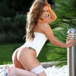Gemma Webb – White Corset With No Panties - 9