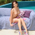 Kat Dee Stripping Nude From Pink Bikini By The Pool - 18