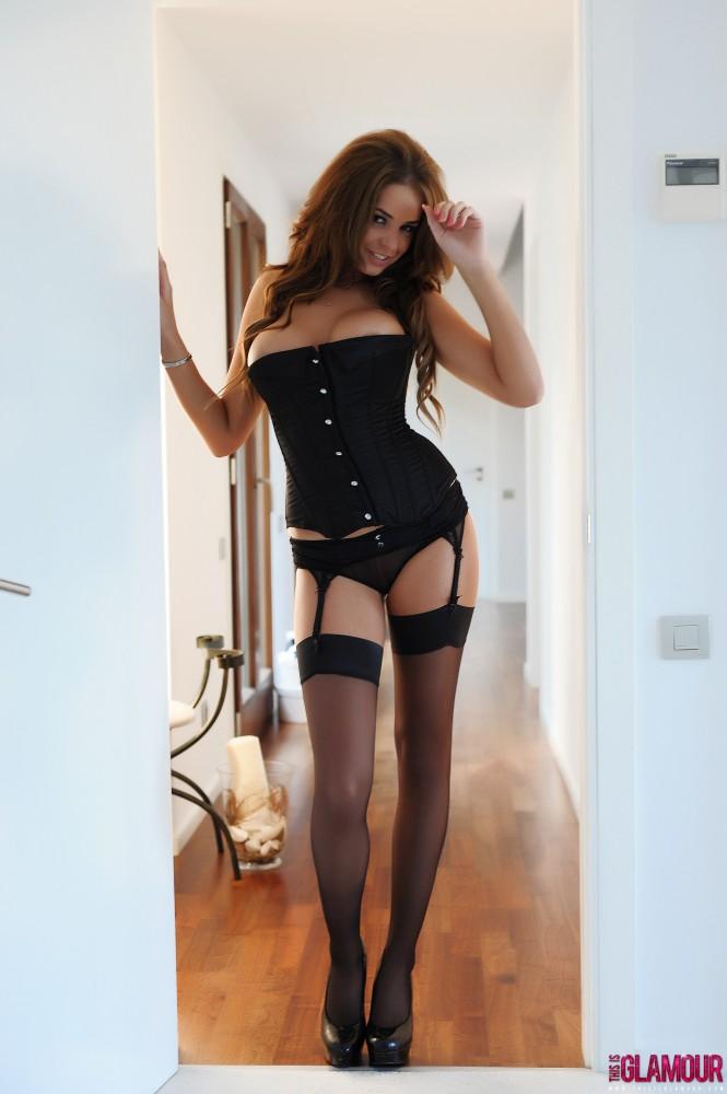 Liberty Parisse – Black Corset Panties And Stockings