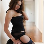 Liberty Parisse – Black Corset Panties And Stockings - 11