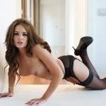 Liberty Parisse – Black Corset Panties And Stockings - 14