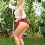 Rachel Mcdonald Strips Nude From White Top And Tartan Mini Skirt - 4