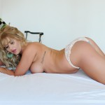 Vanessa Walker Strips Naked From Her Cute Lingerie On Her Bed - 15