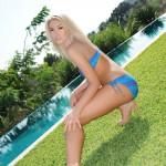 Charlotte Markham – Blue And Purple Bikini By The Pool - 5