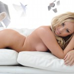 Danni King Strips From Her Grey Lingerie On The Couch - 20