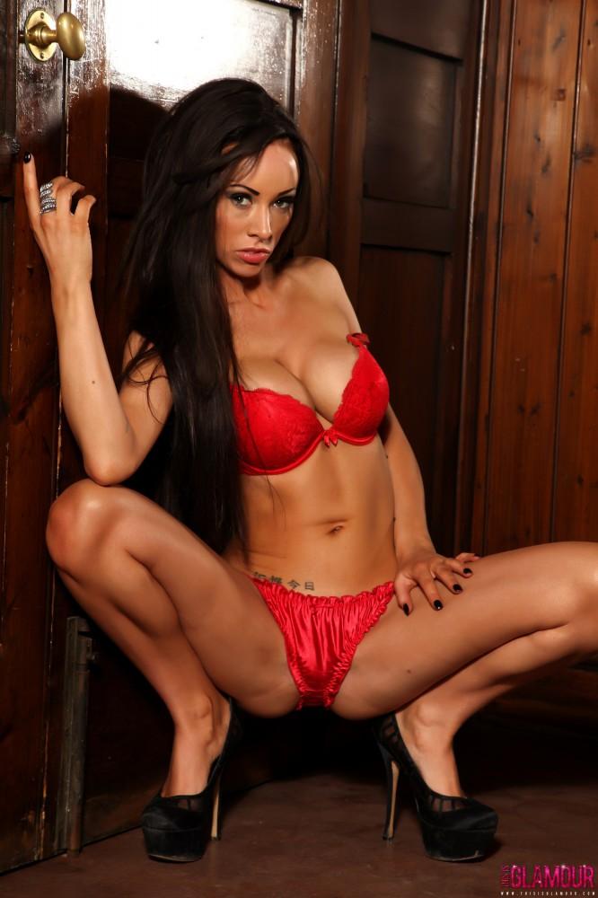 Lauren Rosario Stripping From Her Red Lingerie