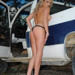 Michelle Cole Strips Nude From Denim Jacket And Shorts - 15