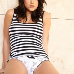 Robyn Hunt – Stripe Top And White Panties - 1