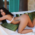 Georgie Serino – White Bikini With Little Cute Shorts And Trainers - 11