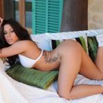 Georgie Serino – White Bikini With Little Cute Shorts And Trainers - 12