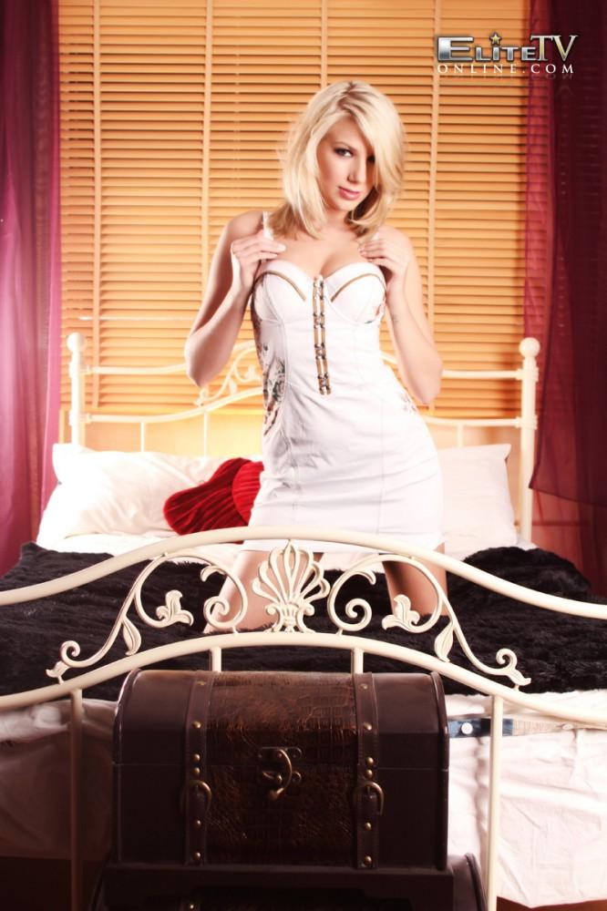 Danielle Maye Stripping From Short White Skirt