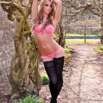 Dionne Daniels Pink Lingerie Black Stockings - 0