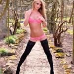 Dionne Daniels Pink Lingerie Black Stockings - 5