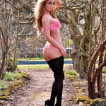 Dionne Daniels Pink Lingerie Black Stockings - 8