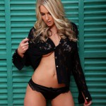 Kayleigh P – Black Lace Shirt With Little Black Thong - 2