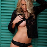 Kayleigh P – Black Lace Shirt With Little Black Thong - 9