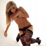 Ashley Emma – Black Floral Stockings - 12