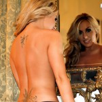 Becky Roberts – Striped Skirt And Black Thong - 11