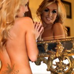 Becky Roberts – Striped Skirt And Black Thong - 12