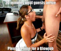 Blowjob-ready Brunette Highlights Sissy Caption