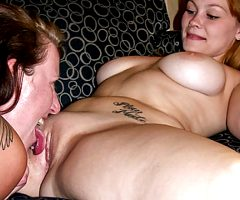 Busty amateur lesbian friends playing together