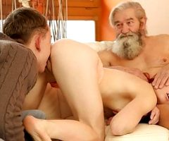 DADDY4K. Boy and bearded father team up to punish girl