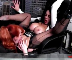 Filthy MILF Slut Red pulls a very busty brunette for sex