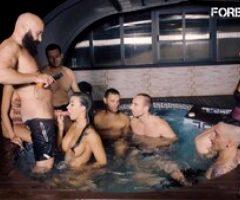 FORBONDAGE – Rough BDSM Pool Sex For Big Tits Brunette