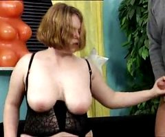 German chubby redhead Jasmin does a threesome