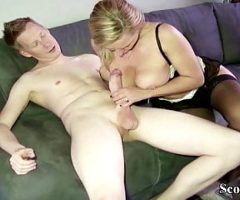 German Mother Seduce the Big Dick Friend of her Son to Fuck