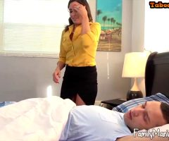 Horny Milf Gives Young Dude A Wake Up Handjob