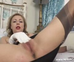 Posh Babe Lucy Lauren Strips Off Wanks in Gloves Nylons