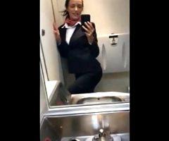 Real Amateur Stewardess Wanks on Flight
