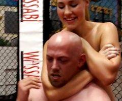 Redhead destroys bald guy