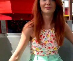 Redhead Flashing On Ferris Wheel