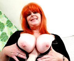 Redhead milf Ginger Tiger toys her freckled fanny